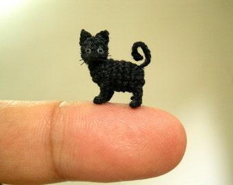 Miniature Black Cat 1/2 Inch - Micro Mini Amigurumi Crochet Cat Kitten - Made to Order