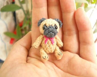 Mini Crochet Fawn Pug Dog  - Teeny Tiny Dollhouse Miniature Pet - Made To Order