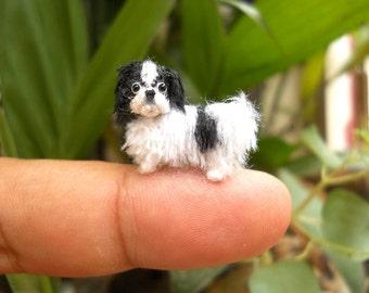 Japanese Chin Puppy - Tiny Crochet Miniature Dog Stuffed Animals - Made To Order
