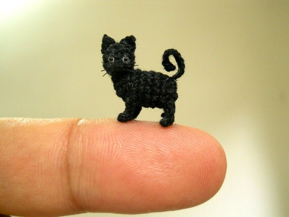 miniatur schwarze katze 1 2 zoll micro mini amigurumi h keln. Black Bedroom Furniture Sets. Home Design Ideas