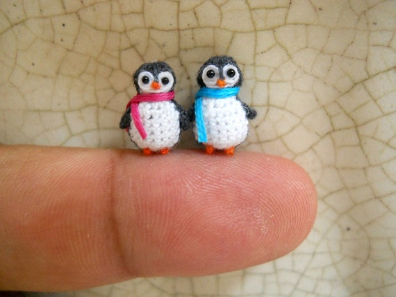 Penguin Couple - Tiny Doll Miniature Amigurumi Stuffed Animal Toy - Set of Two Penguins - Made To Order