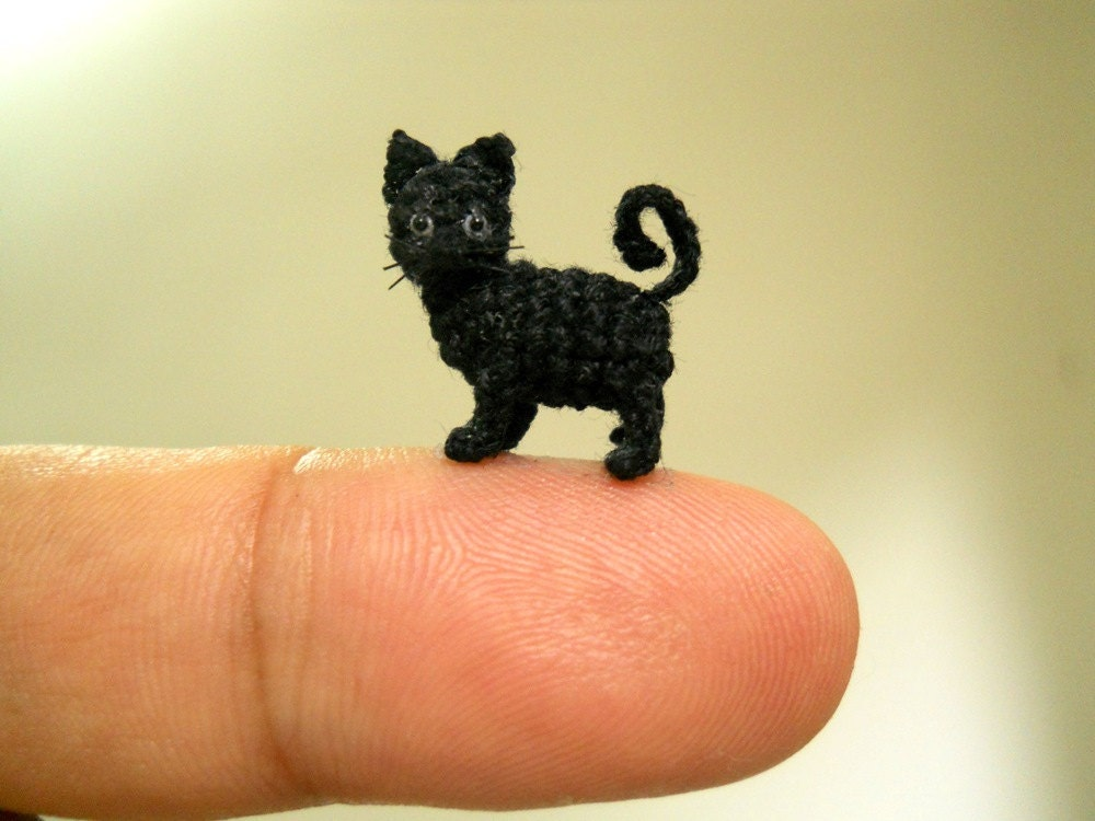 Miniature Black Cat 1/2 Inch Micro Mini Amigurumi Crochet