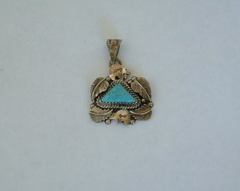 Turquoise and Sterling Rogelio Arte .925 Pendant - Mexico Southwestern
