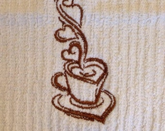 Embroidered tea hearts dish towel