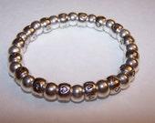 Silver heart spacer beaded elastic bracelet