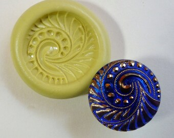 Button mold- Spiral, flexible silicone push mold, PMC, Art Clay Silver, fimo, Sculpey, jewelry mold W2