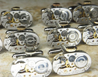 Steampunk Cufflinks Cuff Links x5 Pairs - Watch Movements TORCH SOLDERED - Brushed Silver ELGIN Oval - Wedding, Best Man, Groomsmen Gifts