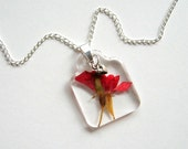 Red Rosebud and Tiny Heart - Real Flower Garden Necklace - Pressed flower, rose, heart, natural, garden, modern, everyday casual, ooak, gift