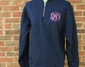 Monogrammed Sweatshirt 1/4 Zippered Fleece Sweater Personalized Pullover Sweat
