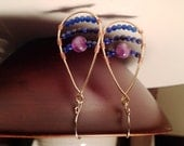 Amethyst, lapis, and jade stone earrings handmade with gold filled, copper, and sterling silver wire