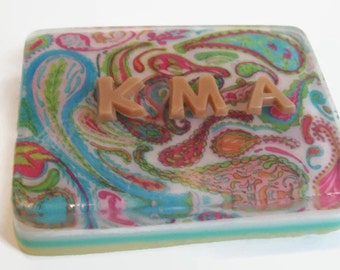 Poppin' Paisley Soap with initials, personalized soap, gift soap, wedding party, birthday