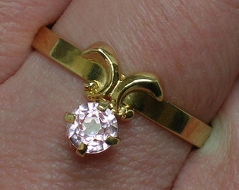 Soviet 583 Rose Gold Ring, Pink Spinel Retro Cutie, 14K. Kostroma, Russia. Size 9