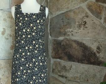 90s SHIFT MINI DRESS vintage tiny floral rose print tank dress M