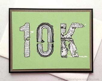 10K Running Zentangle Doodle Handmade 6.2 Greeting Card for Runners (Green) - Run Encouragement, Good Luck, Inspirational, Congratulations