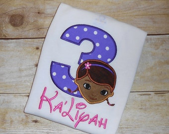Custom Boutique Doc McStuffins Birthday Applique t-shirt or bodysuit - machine embroidered - personalized