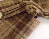 Rug Hooking Fabric,  Portabella Mushroom Plaid, Select a Size, J835