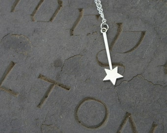 Wishing wand necklace, silver tone magic wand necklace