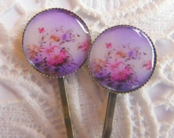 Water Colour Flowers Hair Clips Bobby Pins.