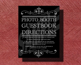 Wedding Photo Booth Guestbook Directions Sign