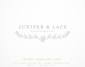 DIY INSTANT DOWNLOAD - Organic Laurels Premade Logo Design for Photography or Boutique by Summit Avenue