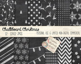 Christmas Digital Papers, Holiday Chalkboard Paper backgrounds for cards, invitations, scrapbooks, Christmas photo cards, announcements