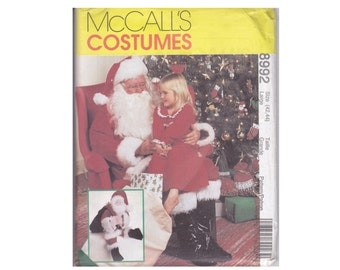 Santa Claus Costume Bag and Doll UNCUT sewing Pattern Size 42 44 Large McCalls Costumes 8992 Christmas eve surprise santas helpers
