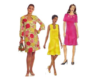 Fast & Easy Dress Pattern 16 18 20 22 or 8-10-12-14 UNCUT OOP Sewing Pattern Butterick 5180 Dress with neckline and sleeve options