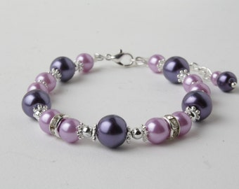flower girl bracelet - purple pearl bracelet - purple wedding - girl bracelet - junior bridesmaid - dark purple and lavavender - bridesmaid