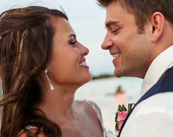 Long CZ Pearl Drop Wedding Earrings, Bridal Earrings, Bridal Jewelry, Bridesmaid Earrings, Rhinestone Earrings