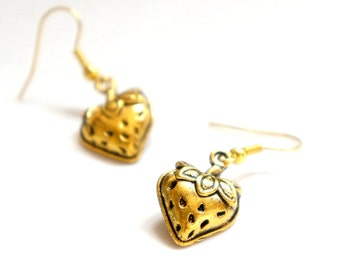 Golden Straweberry Dangle Earrings - C0031