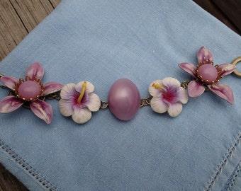 Shades of Purple Vintage Flower Bracelet