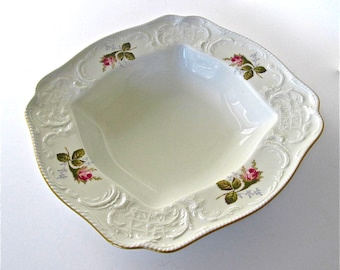 Rosenthal China, Moss Rose Square Vegetable Bowl with Gold Trim - Germany