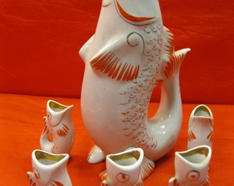 60s RUSSIAN Soviet Porcelain Decanter Polonsky ZHK  6 glasses FISH with Kids
