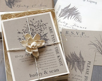 "Rustic Wedding Invitations, Boxed Wedding Invitations, Woodland Wedding - ""Rustic Fern"" Box Invite Sample - NEW LOWER PRICE!"