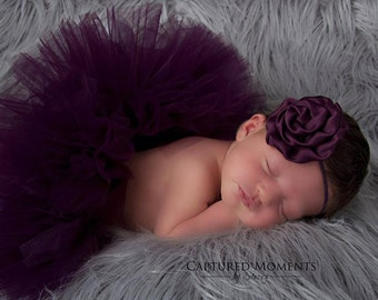 Simply Plum Tutu perfect for Newborn pictures, special occassions, birthdays and many more