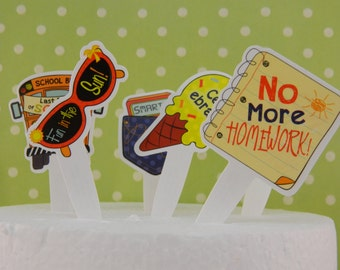 End of the School Year Cupcake Picks / Toppers / Decorations