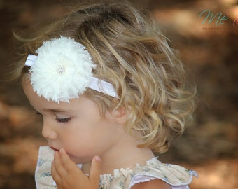 Vintage Shabby Chic 'Ivory and White' Chiffon flower on thin Headband Baby Girls Girl