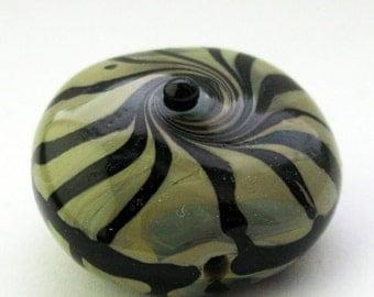 Handmade lampwork glass bead lentil