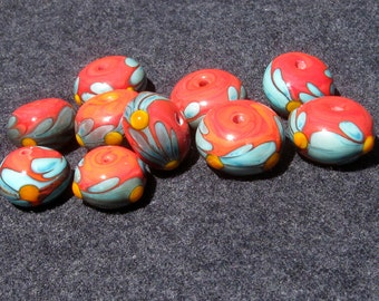 Handmade lampwork glass beads coral set