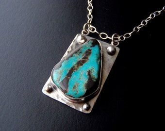 Black Matrix Turquoise Pendant Sterling Silver Necklace New Handcrafted Jewelry Natural Turquoise and Sterling Necklace