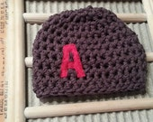 Monogram Initial Beanie Baby Crochet Any Colors or Letter Photo Prop Hat 0-3 3-6 6-12 toddler child star heart