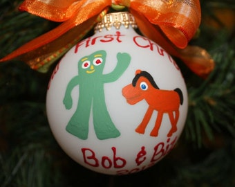 Gumby & Pokey Custom Personalized Ornament hand-painted and Made to Order