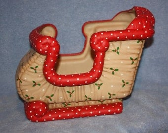 Jumbo Hand Painted Ceramic Christmas Sleigh painted with a holly berry print to look stuffed