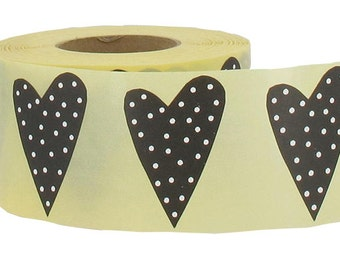 Black white Polka dot Heart Stickers, set of 24, 1.3 x 2  inches, from Finland