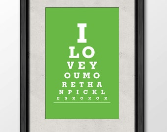 I Love You More Than Pickles - Eye Exam Chart Print Wall Hanging Home Decor