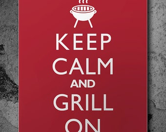 "Masculine Wall Art ""Keep Calm And Grill On"" Kitchen Wall Decor Print Food Cooking Barbecue BBQ"