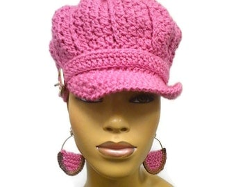 MADE TO ORDER Pink Newsboy Hat/Beanie/brim and buckle (buckle may vary)/free teardrop crochet earrings/elastic edging/Scarf not included