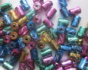 Mixed Color Acrylic Tube Beads 7x5x5mm 18 Beads