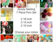 7 Tissue Paper Pom Poms, Wedding Decor, Nursery, Birthday Party, Party Decorations, Tissue Paper Flowers, Communion, Baby Shower, Reception