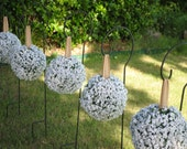 Baby's Breath and Burlap Pomander Kissing Balls - Set of 6 (7 inch)